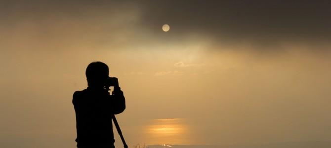 伊吹山ドライブウェイの夕日と皆既月食